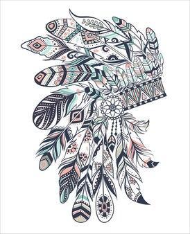 Illustrazione boho con copricapo di piume