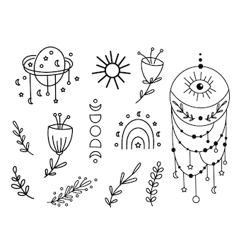 Boho linea arte clipart. illustrazione vettoriale.