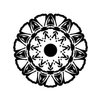 Boho mandala illustrazione in bianco e nero, design rotondo hippie. disegno vettoriale tribale mandala geometrico