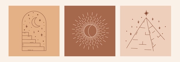 Boho mistico doodle set esoterico magic line art poster con arco scale luna piramide sole