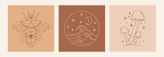 Insieme esoterico di scarabocchio mistico di boho. poster di arte di linea magica con ape, funghi, mare. illustrazione vettoriale moderna bohémien