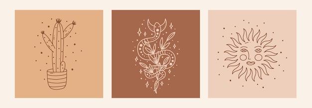 Boho mistico doodle set esoterico magic line art poster con cactus sole serpente e luna