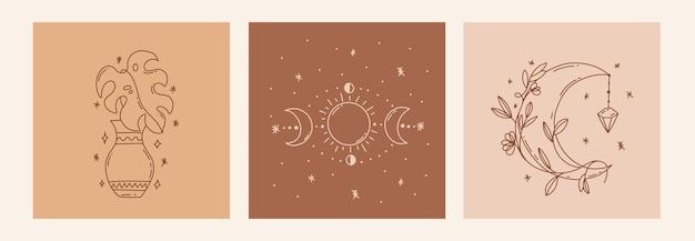 Boho mistico doodle set esoterico magic line art poster con vasi di foglie di luna fasi lunari illustrazione moderna bohémien