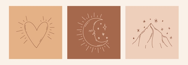 Boho mistico doodle set esoterico magic line art poster con luna montagna cuore illustrazione moderna bohémien