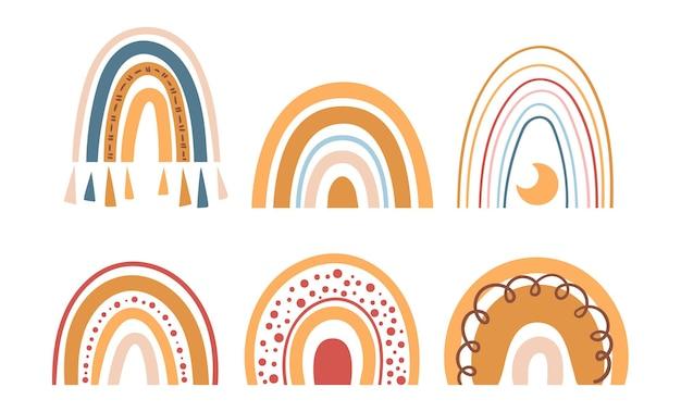 Set di clipart arcobaleno color pastello boho