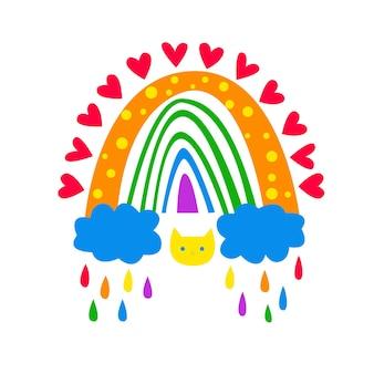 Boho rainbow boho arch in colori arcobaleno stock illustrazione vettoriale isolato su sfondo bianco