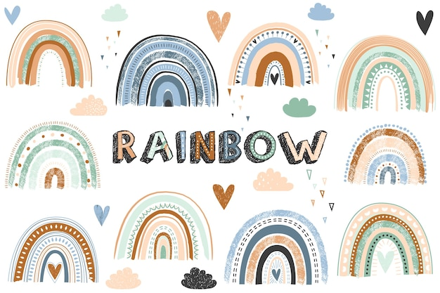 Illustrazione di raccolta arcobaleno boho