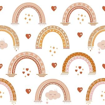 Motivo arcobaleno boho, illustrazione vettoriale a colori per le stanze dei bambini