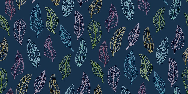 Boho seamless pattern feather outline cartoon sfondo scuro. linea modello di piume di uccello