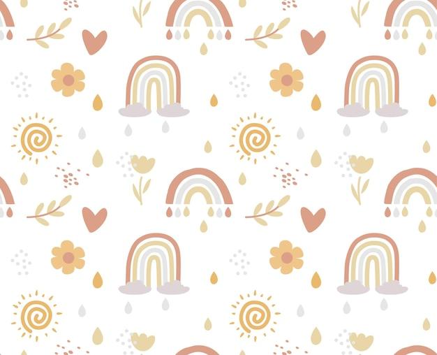 Boho seamless pattern arcobaleno kids