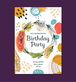 Illustrazione di progettazione grafica del modello dell'invito di compleanno di stile di boho