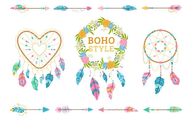 Set di elementi di design in stile boho. elementi di arredo matrimonio bohemien. dreamcatcher, piuma, ghirlanda floreale