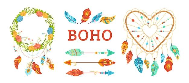 Insieme di elementi di design in stile boho. dreamcatcher con piume, freccia, ghirlanda floreale. talismano etnico