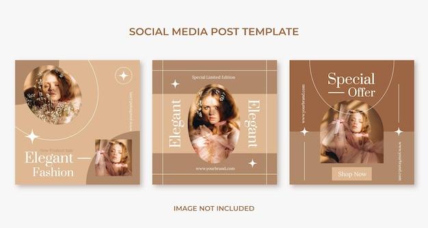 Modello di post sui social media di moda piatta stile boho