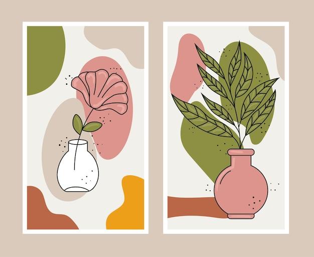 Stile boho foglie piante in vasi di ceramica