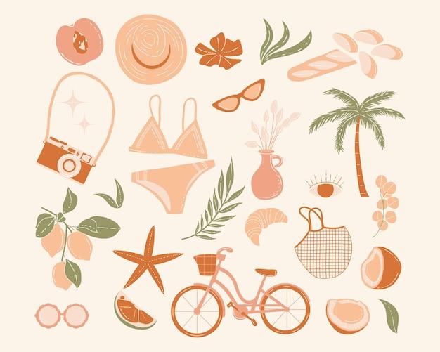 Elementi di picnic estivi boho illustrazione vettoriale sfondo estivo e carta da parati vacanze di vacanza