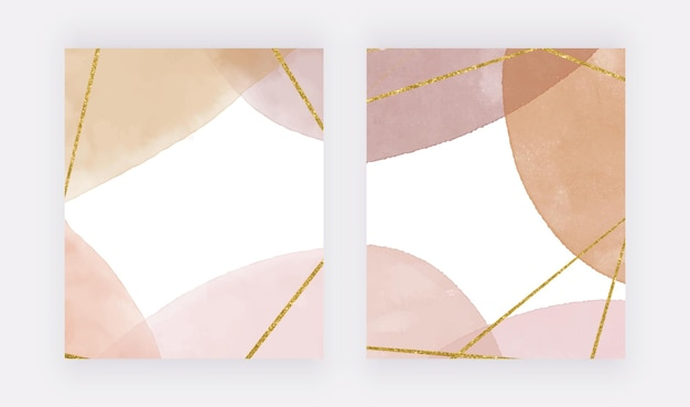 Stampe da parete boho con texture acquerello beige e linee glitter dorate