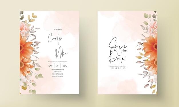 Boho matrimonio invito carta marrone floreale