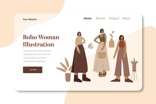 Modello di illustrazione della pagina di destinazione di boho woman