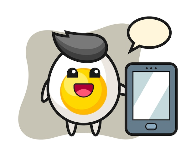 Fumetto dell'illustrazione dell'uovo sodo che tiene uno smartphone