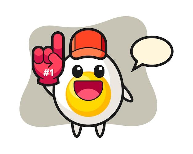 Fumetto dell'illustrazione dell'uovo sodo con il guanto dei fan di numero 1