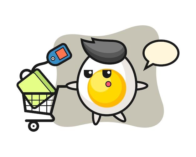 Fumetto dell'illustrazione dell'uovo sodo con un carrello