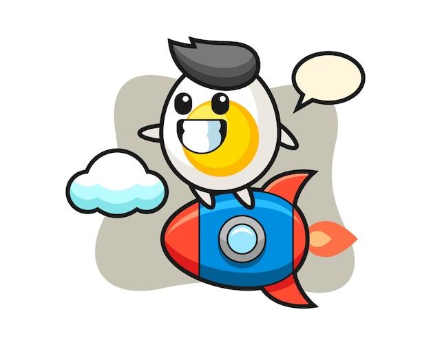 Personaggio mascotte uovo sodo cavalcando un razzo
