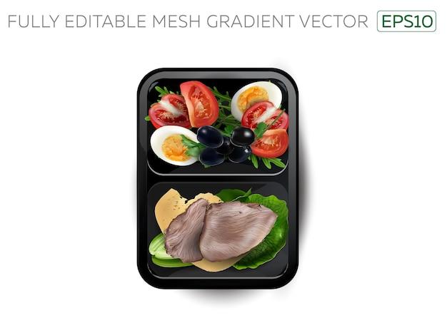 Carne bollita con uova, formaggio e verdure in un lunchbox.