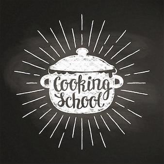 Pot di ebollizione gesso con raggi di sole e scritte - scuola di cucina