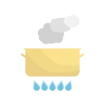Pentola bollente sul gas. utensili da cucina su sfondo bianco. illustrazione di vettore.