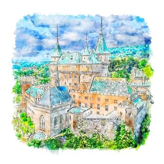 Illustrazione disegnata a mano di schizzo dell'acquerello della slovacchia del castello di bojnice