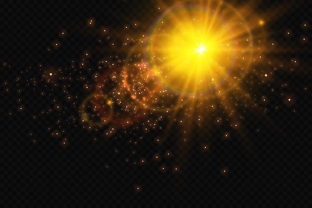 Sfondo bokeh con scintillii sole luminoso effetto luce particelle luminose