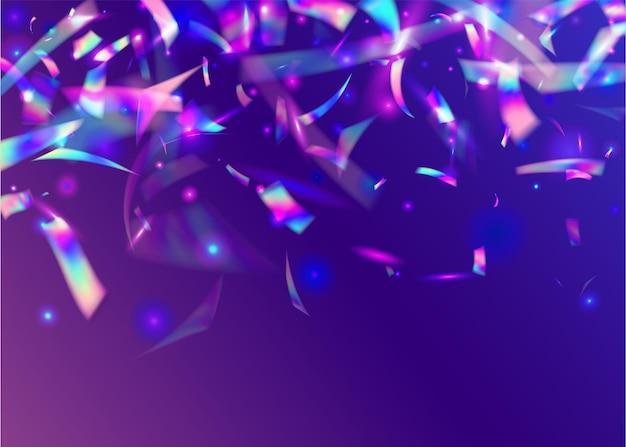 Bagliore di bokeh. arte festiva. effetto compleanno. foglio di cristallo. striscione laser. sfocatura carnevale serpentine. scintille olografiche. trama discoteca blu. viola bokeh bagliore