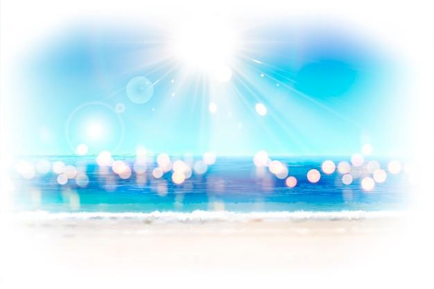 Bokeh glitter ocean resort sfondo con un sole splendente