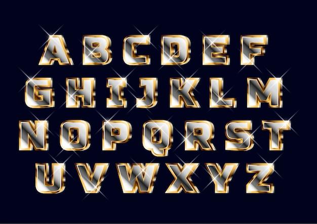 Set di alfabeto in grassetto 3d oro cromato