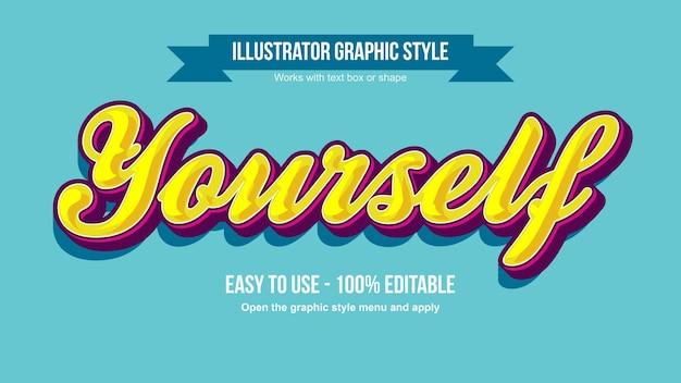 Grassetto 3d giallo divertente calligrafia modificabile effetto di testo