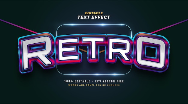 Stile di testo retrò colorato audace con effetto rilievo 3d. effetto stile testo modificabile