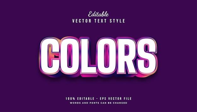 Grassetto effetto stile testo colorato con effetto in rilievo