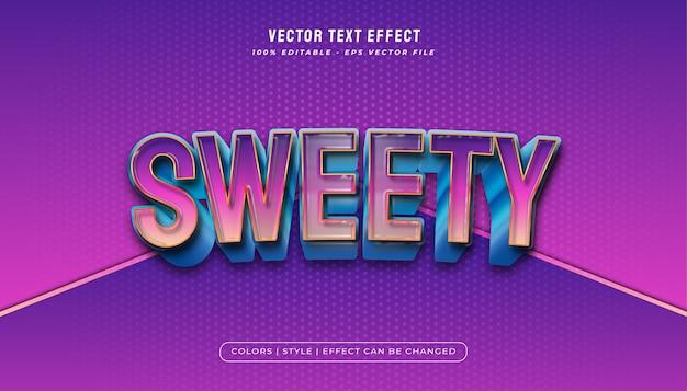 Grassetto stile di testo colorato con texture plastica realistica ed effetto in rilievo