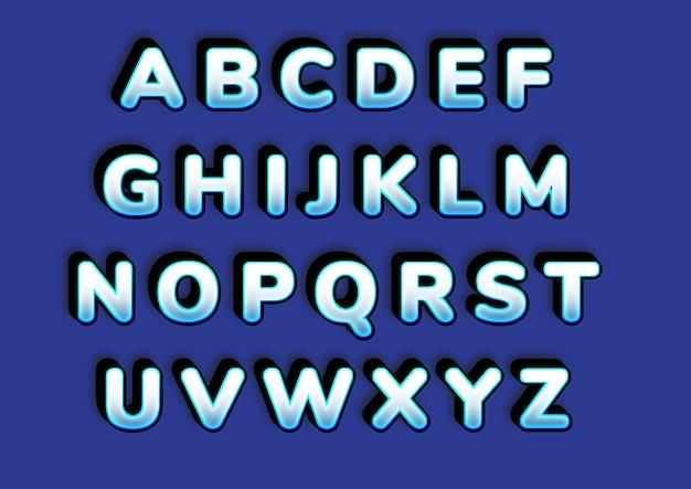 Set di alfabeti 3d con effetto ghiaccio congelato in grassetto