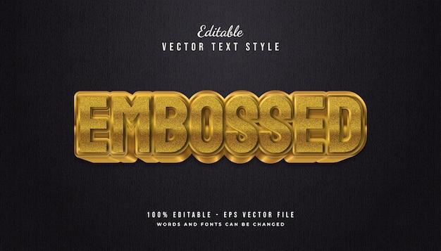Stile di testo in rilievo oro grassetto con effetto texture