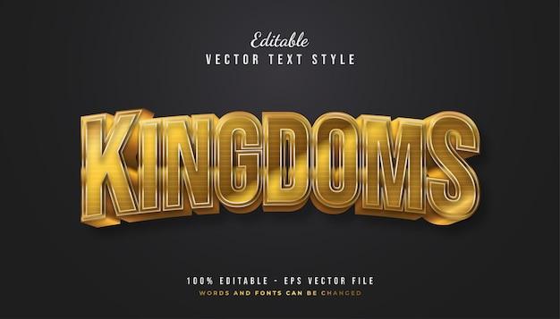 Bold gold kingdoms text style con effetto rilievo e texture
