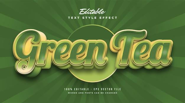 Testo in grassetto di tè verde in stile vintage con effetto goffrato