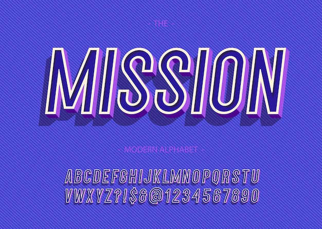 Grassetto missione alfabeto tipografia alla moda sans serif stile 3d per il concetto