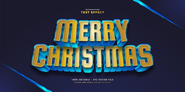 Stile di testo moderno in grassetto blu e oro con effetto 3d. effetto stile testo modificabile
