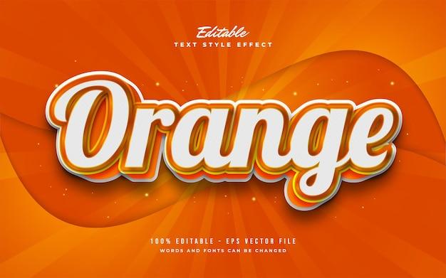 Stile di testo arancione in grassetto con effetto 3d e rilievo. effetto di testo modificabile