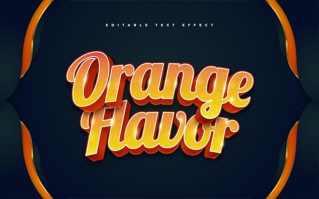 Stile di testo arancione in grassetto con effetto rilievo 3d. effetto stile testo modificabile
