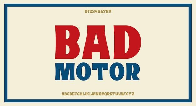 Carattere sans serif vintage retrò grassetto, design tipografico pulito e minimalista,