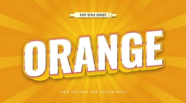 Stile di testo in grassetto bianco e arancione con effetto 3d. effetto di testo modificabile