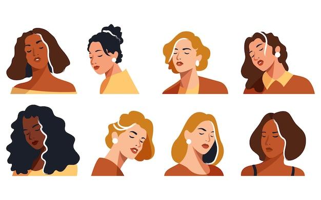Illustrazione vettoriale di ritratti di donna audace